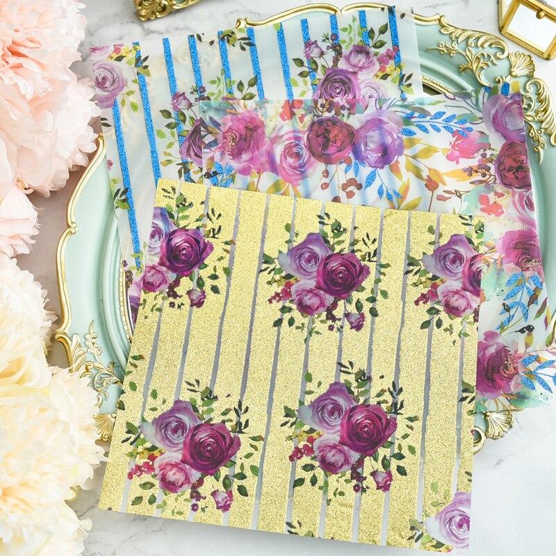YPP ARTISANAT 18 pcs Vintage Fleurs Motif Vélin Papier Autocollants pour Scrapbooking Heureux Planificateur/Fabrication De Cartes/Journalisation Projet
