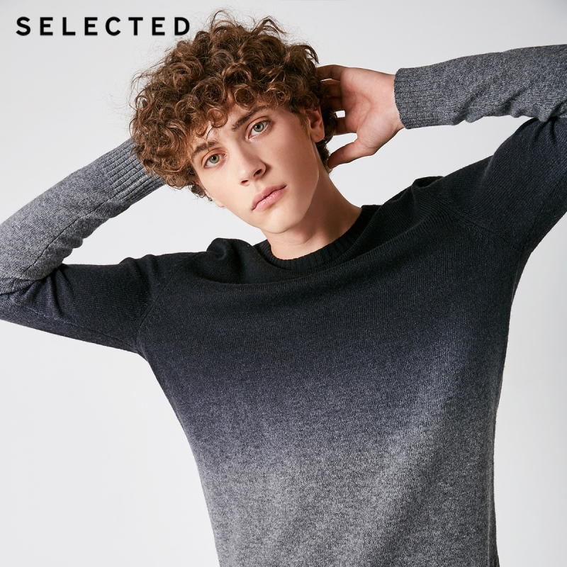 SELECTED Autumn Men's Sweater Pure Wool Gradual Change Business Casual Men Pullovers S  418425508-in Pullovers from Men's Clothing