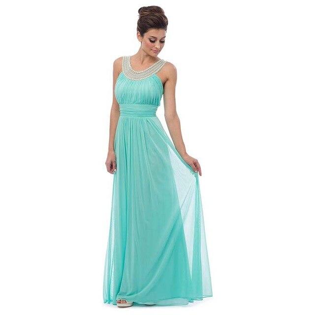Vestido longo azul esverdeado