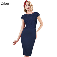 New Fashion Women Lace Pencil Dresses Cap Sleeve Backless Holiday Party Bodycon Navy Dress Sexy Elegant