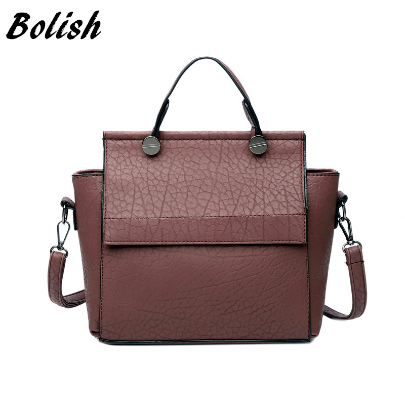Bolish New Arrival Vintage Trapeze Tote Women Leather Handbags Ladies Party Shoulder Bags Fashion Top-Handle Bags
