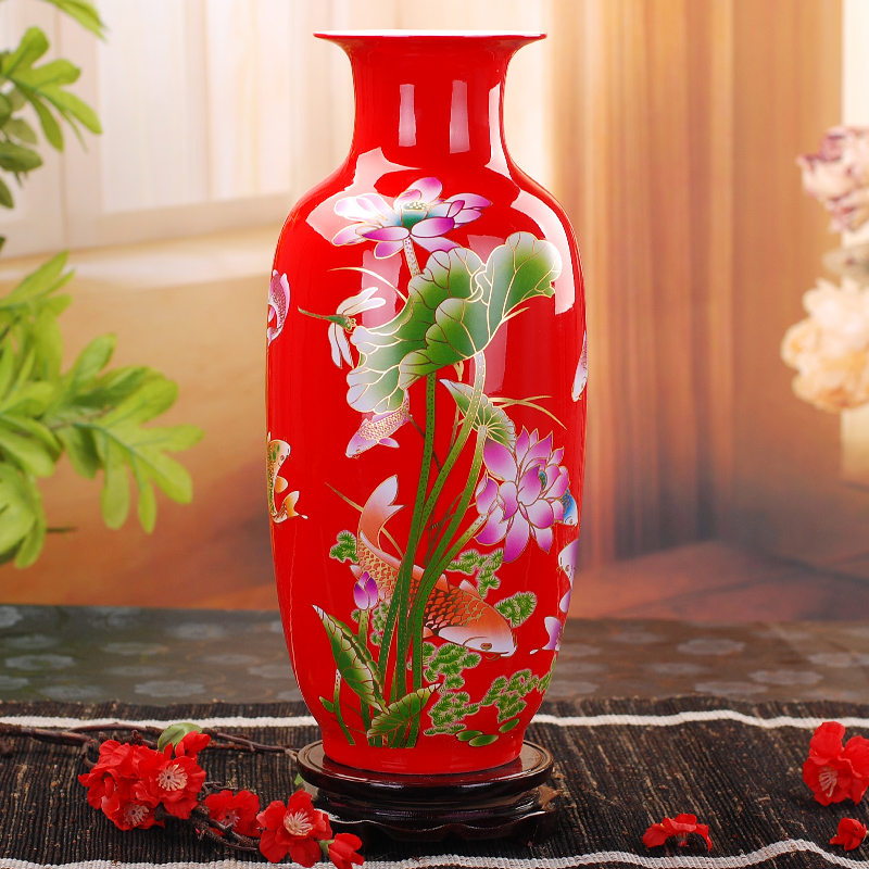 Jingdezhen Ceramic Vase Modern Chinese Style Lotus Fish Vase Wedding Gifts Home Handicraft Furnishing Articles Golden Drawing