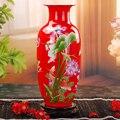Jingdezhen jarrón de cerámica de estilo chino moderno, jarrón de pez de loto, regalos de boda, artículos de decoración para el hogar, dibujo dorado