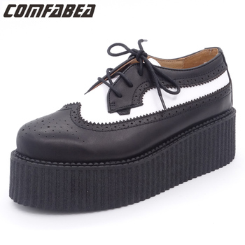 Spring Autumn 2020 Shoes Women Genuine Leather Oxfords Ladies High Quality Oxford Shoes For Women Flat shoes HARAJUKU Creepers