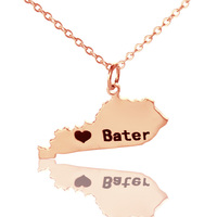 AILIN Personalized Kentucky State Shaped Necklace Rose Gold Color DIY USA Map State Of Pendent Charm Necklace Custom Necklaces