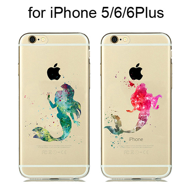 Adorable Mermaid Feather Bird Silicone Watercolor <font><b>Case</b></font> for coque <font><b>iphone</b></font> <font><b>8</b></font> 7 Plus 6 6S Plus 5 5S Clear <font><b>Case</b></font> Cartoon Animals Cover image
