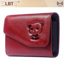 RFID credit card holder wallet women Genuine Leather Hasp Fashion Animal Prints purse bag pink women high quality new 2019 все цены