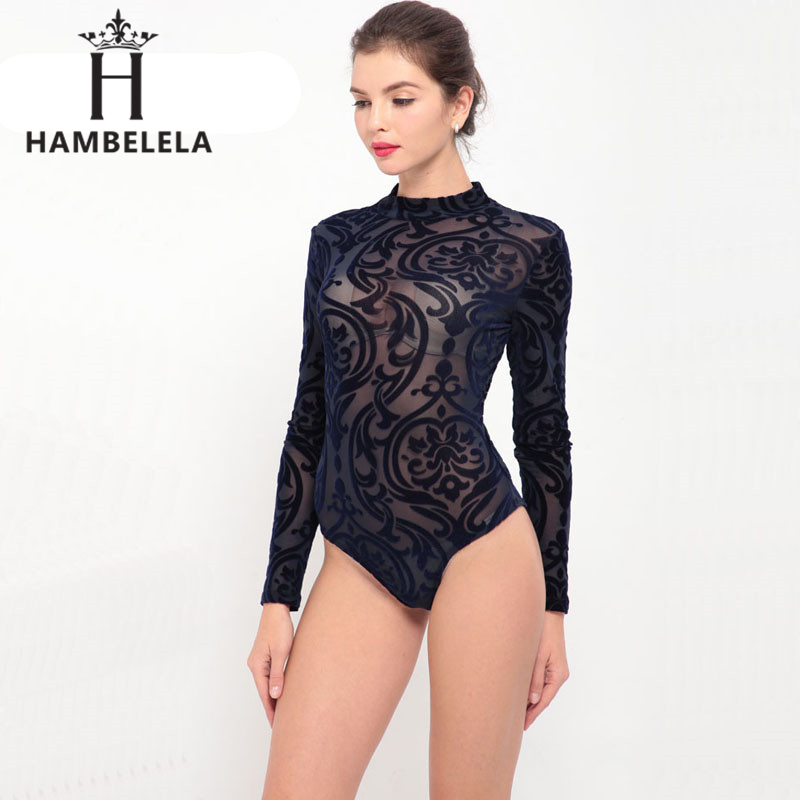 HAMBELELA 2018 See Through Sexy Bodysuit Women Rompers Bodycon   Jumpsuit   Transparent Bodysuits Women Long Sleeve Mesh Bodysuit