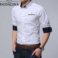 Dudalina Men Shirt 2019 Long Sleeve Shirt Male Casual Embroidery Formal Business Man Shirt Slim Fit Designer Dress