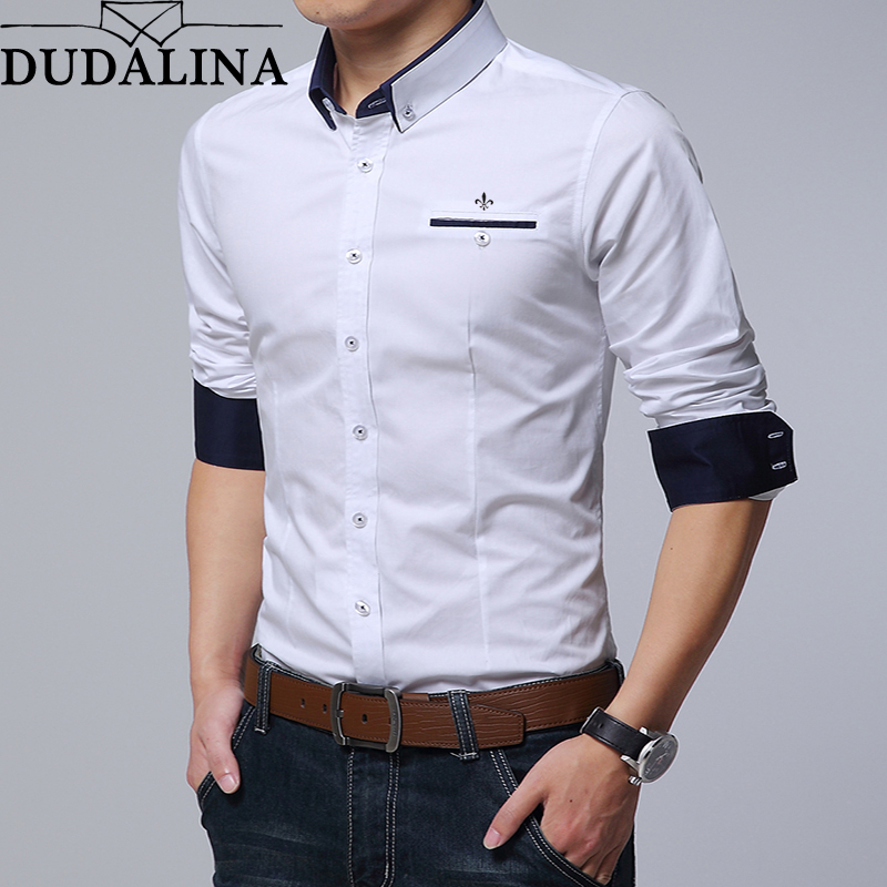 Dudalina Men Shirt 2018 Long Sleeve Shirt 100% Cotton Male Casual Embroidery Formal Business Man Shirt Slim Fit Designer Dress