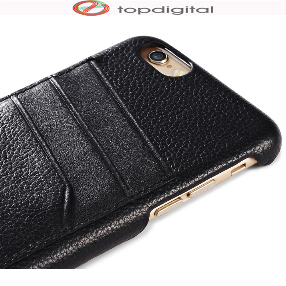 finest selection 06595 a3e83 US $13.59 |icarer for iPhone 6 6s Plus Case Wallet Card Genuine Leather for  iPhone 6 Plus Cases Cover Protective Hard Back Card Slots Black-in Fitted  ...
