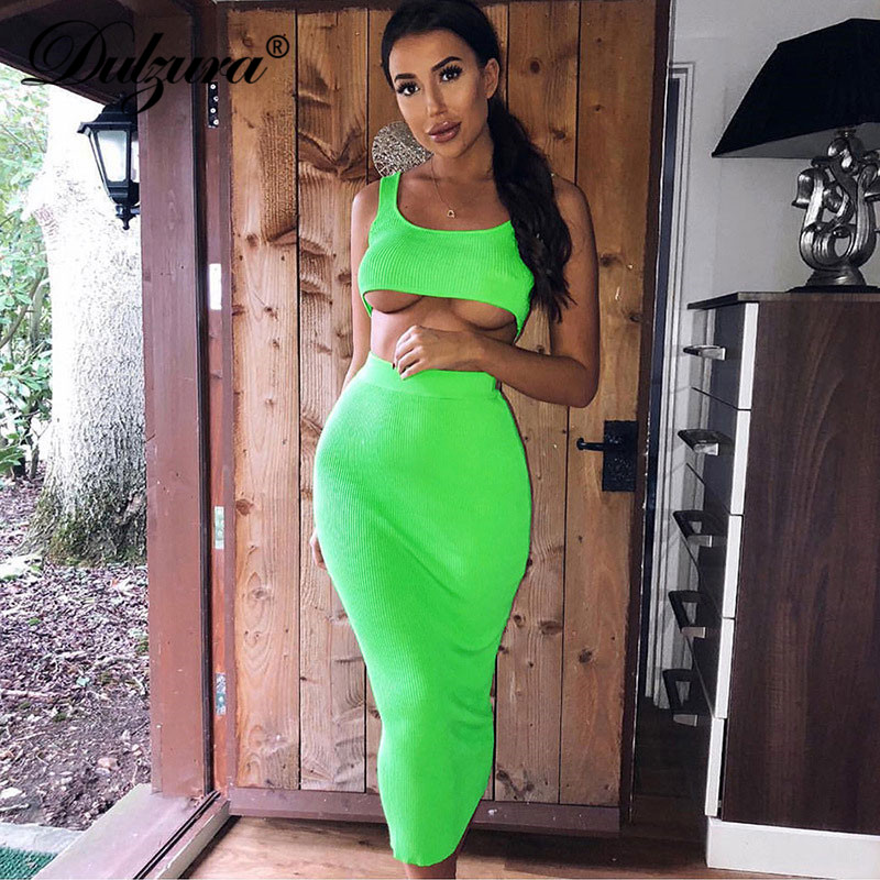 Dulzura neon ribbed knitted <font><b>women</b></font> <font><b>two</b></font> <font><b>piece</b></font> matching co ord <font><b>set</b></font> crop top midi <font><b>skirt</b></font> sexy festival party 2019 winter clothing image