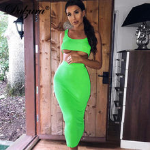 Dulzura neon rippen gestrickte frauen zwei stück passenden co ord set crop top midi rock sexy festival party 2019 winter kleidung(China)