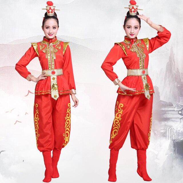 84c2aa74c Chinese folk dance costume Red woman Drum Yangko Dance Wear ancient Hua  Mulan Dress oriental traditional drama dance costumes