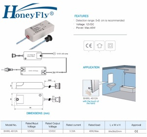Image 5 - HoneyFly 2pcs NEW LED DC12V IR Sensor Switch 40W Infrared Light Switch For LED Lamps LED Strips Motion Sensor Hand Wave 5 8CM CE