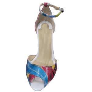 Image 3 - גודל 34 45 עור אמיתי בוהן פתוח שתי חתיכות קרסול רצועת מתוק פרפר הדפסת פגיון עקבים גבוהים נשים סנדלי נעליים