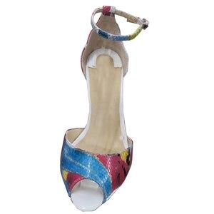 Image 3 - Tamanho 34 45 couro genuíno dedo do pé aberto duas peças tornozelo cinta doce borboleta impressão stiletto salto alto sandálias femininas sapatos