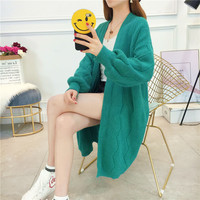 2019 Autumn Winter New Women Casual Sweaters Cardigans Loose Lantern Sleeve Long Knitted Cardigan Coat Sweater