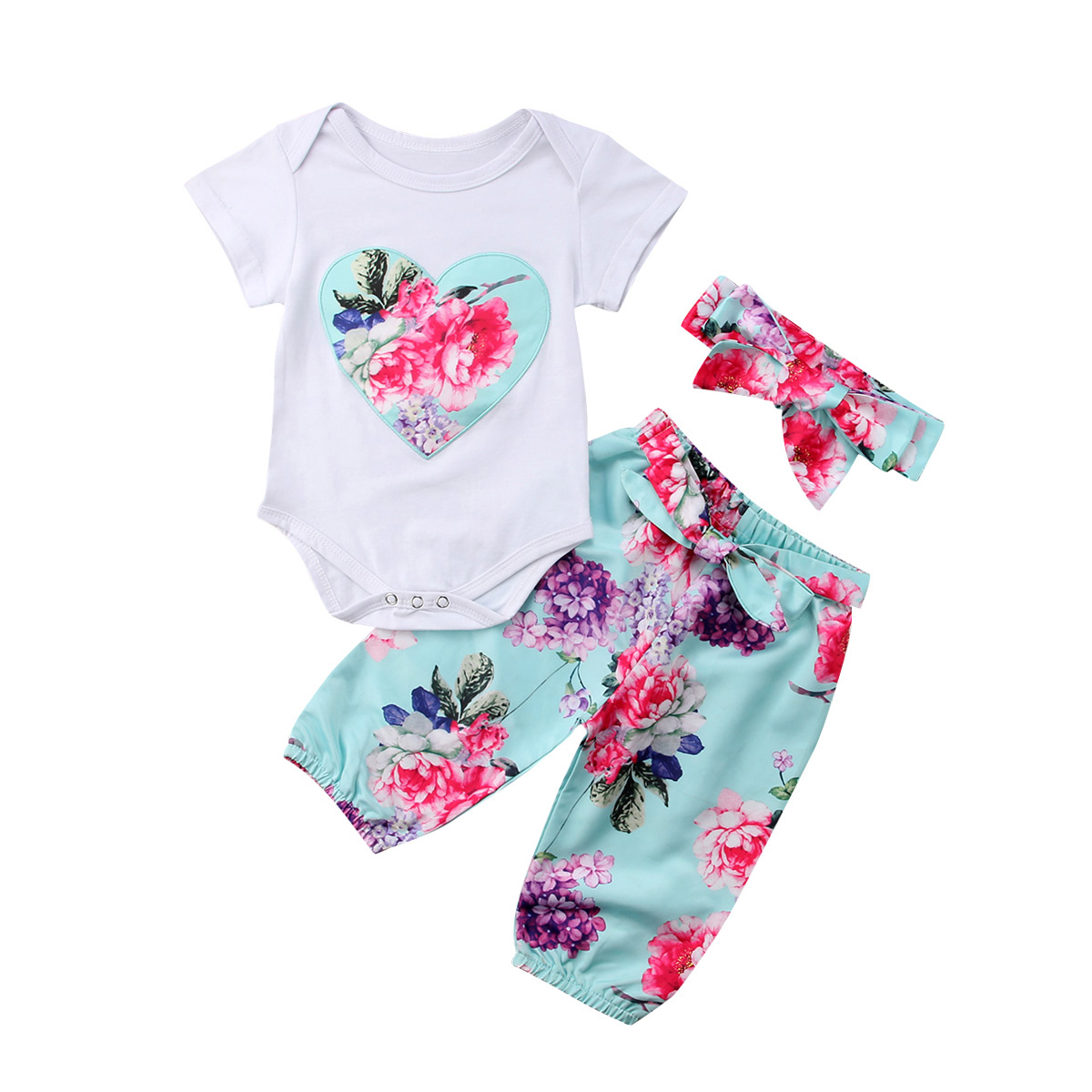 3Pcs Girls Romper Newborn Baby Girls White Blue Floral Cotton Tops Romper Pants Headband Outfits Clothes