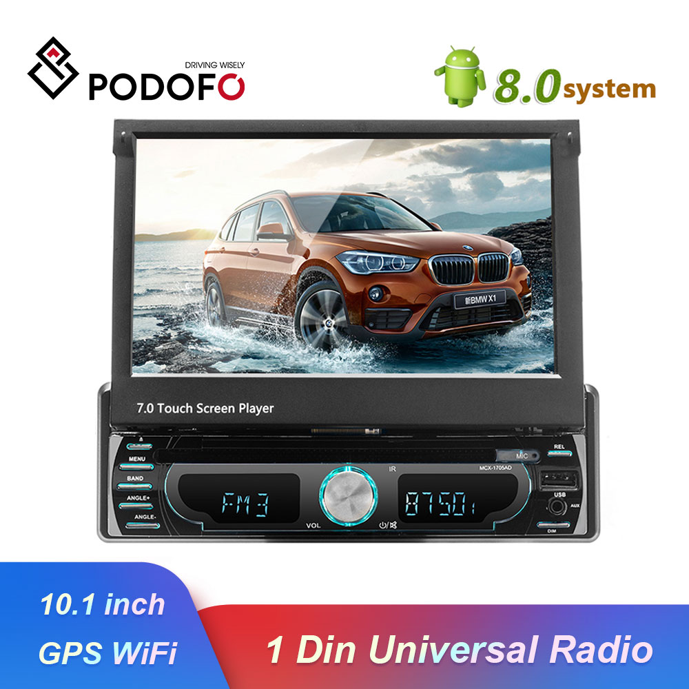 Podofo 10.1 1 din Android Multimedia player wifi Car Radio Stereo GPS Navigation Autoradio Universal CD/DVD Player FM AM USB image