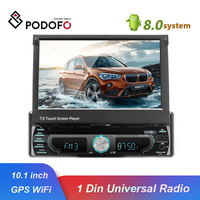 Podofo 10.1 1 din Android Multimedia player wifi Car Radio Stereo GPS Navigation Autoradio Universal CD/DVD Player FM AM USB