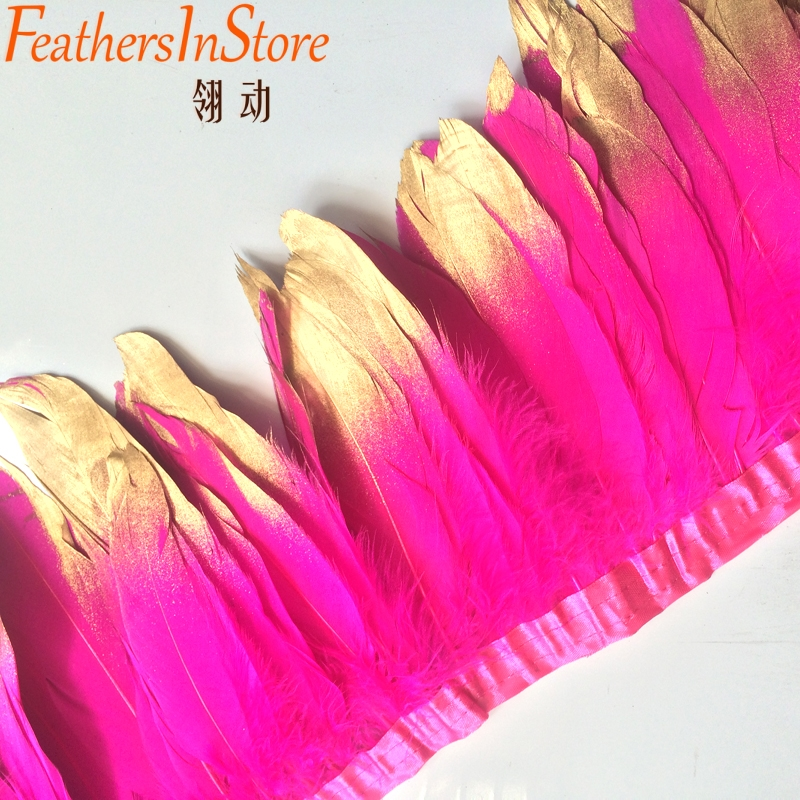 10meters Fuchsia Gold Painting Spray Goose Feather Fringes 15-18cm With Gold Tips Goose Feather trims
