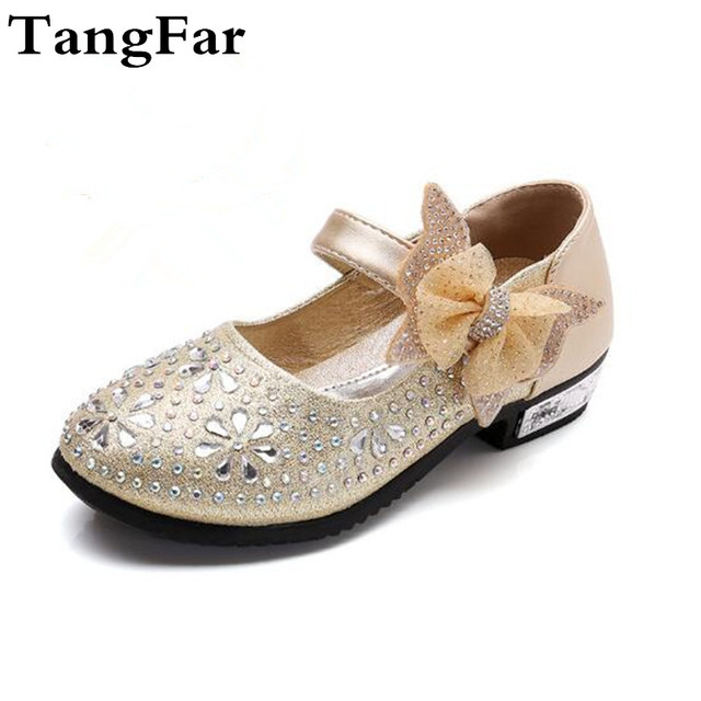 Children Princess Diamond Wedding Shoes High Heels Bow Dress Shoes Gold  Pink Glitter Patent Leather Party Shoes Size 26-36 e7fae3df01b3