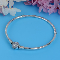Luxury 100 925 Sterling Silver Sparkling Heart Snake Chain Fit Original Charm Pan Bracelet Bangle For