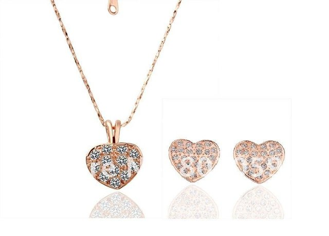18K Gold Plated Crystal Heart Jewelry Sets Austrian SW Crystal new