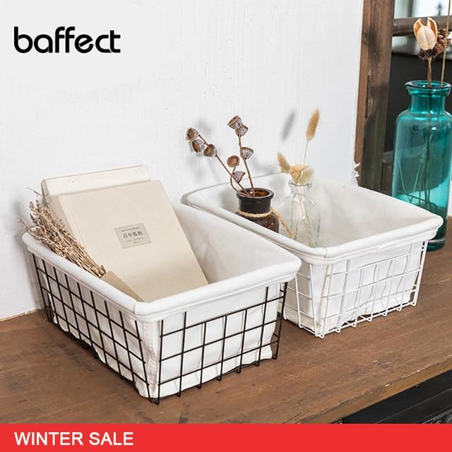 Multifunctional Simple Hollow Iron Storage Basket With/Whithout Interlining for Desktop Bathroom Kitchen Storage Organizer