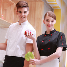 (5 get 15% off, 10 get apron) man/woman chef wear uniform clothes blank/white short sleeve restaurant hotel kitchen coverall