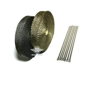 Image 5 - 15 m/50ft X 1 inç Titanyum Termal Egzoz Üstbilgi Borusu Isı Wrap Egzoz Wrap Lava Elyaf Bant 6 adet Paslanmaz Çelik Bağları Seti