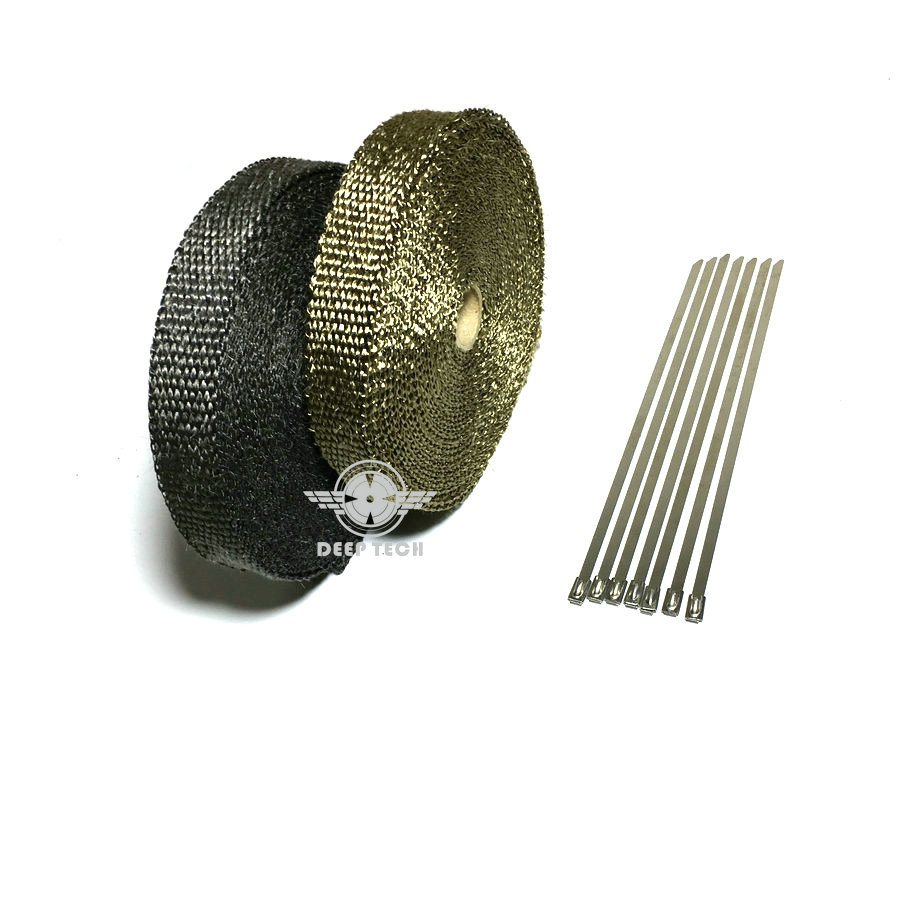 Image 5 - 15m/50ft X 1inch Titanium Thermal Exhaust Header Pipe Heat Wrap Exhaust Wrap Lava Fiber Tape With 6 Pcs Stainless Steel Ties Kit-in Exhaust & Exhaust Systems from Automobiles & Motorcycles