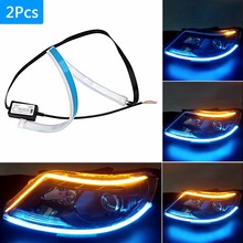 2PCS Thin Yellow Flowing Ice Blue LED Daytime Running Lights DRL Strip Dynamic Turn Signal Flexible Soft Light Car Tuning