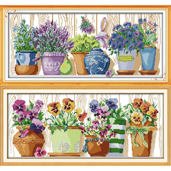 Everlasting Love Christmas The Pottings On Windowsill  Chinese Cross Stitch Kits Ecological Cotton Stamped Sales Promotion