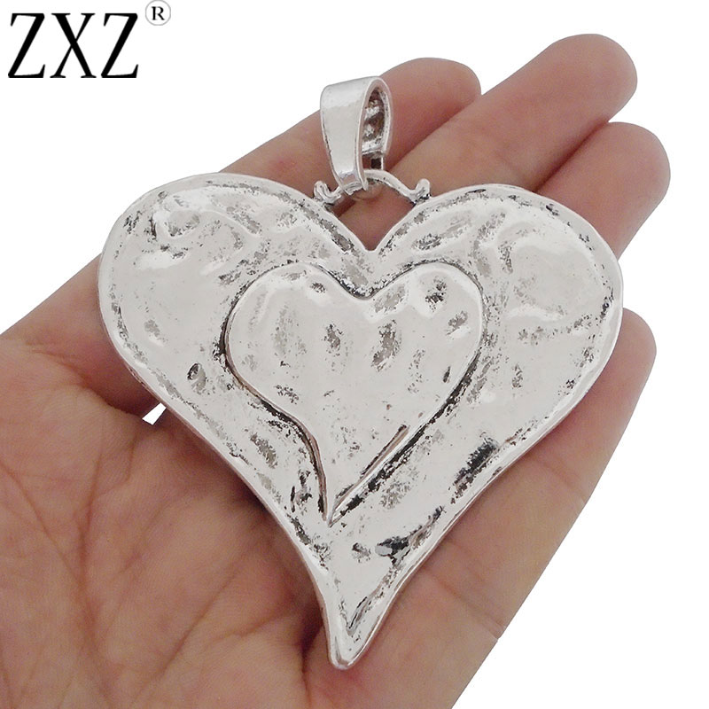 2PCS Antique Silver Large Love Heart Charms Pendant DIY Jewelry Findings