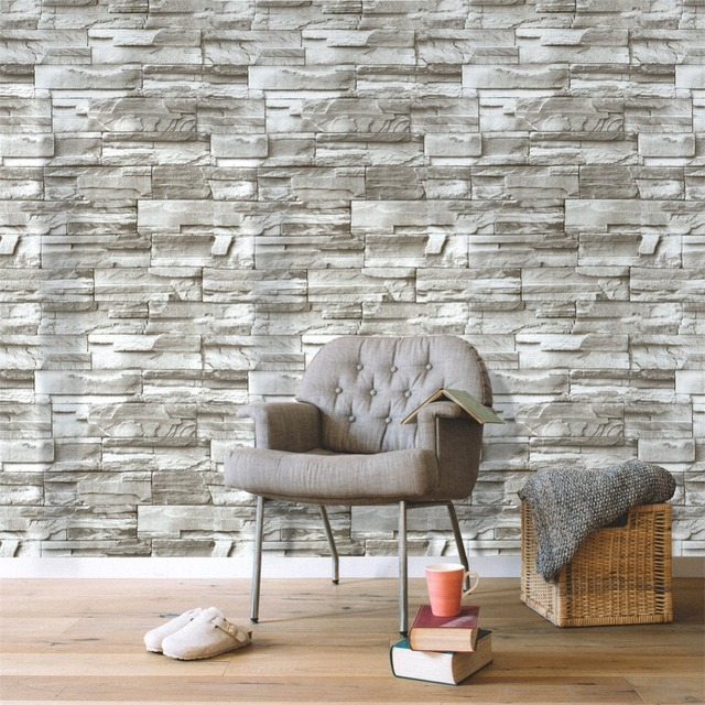 HaokHome Modern 3d Brick Stone Wallpaper Self Adhesive Peel Stick Contact paper  Tan living room Kitchen Home Wall Decoration