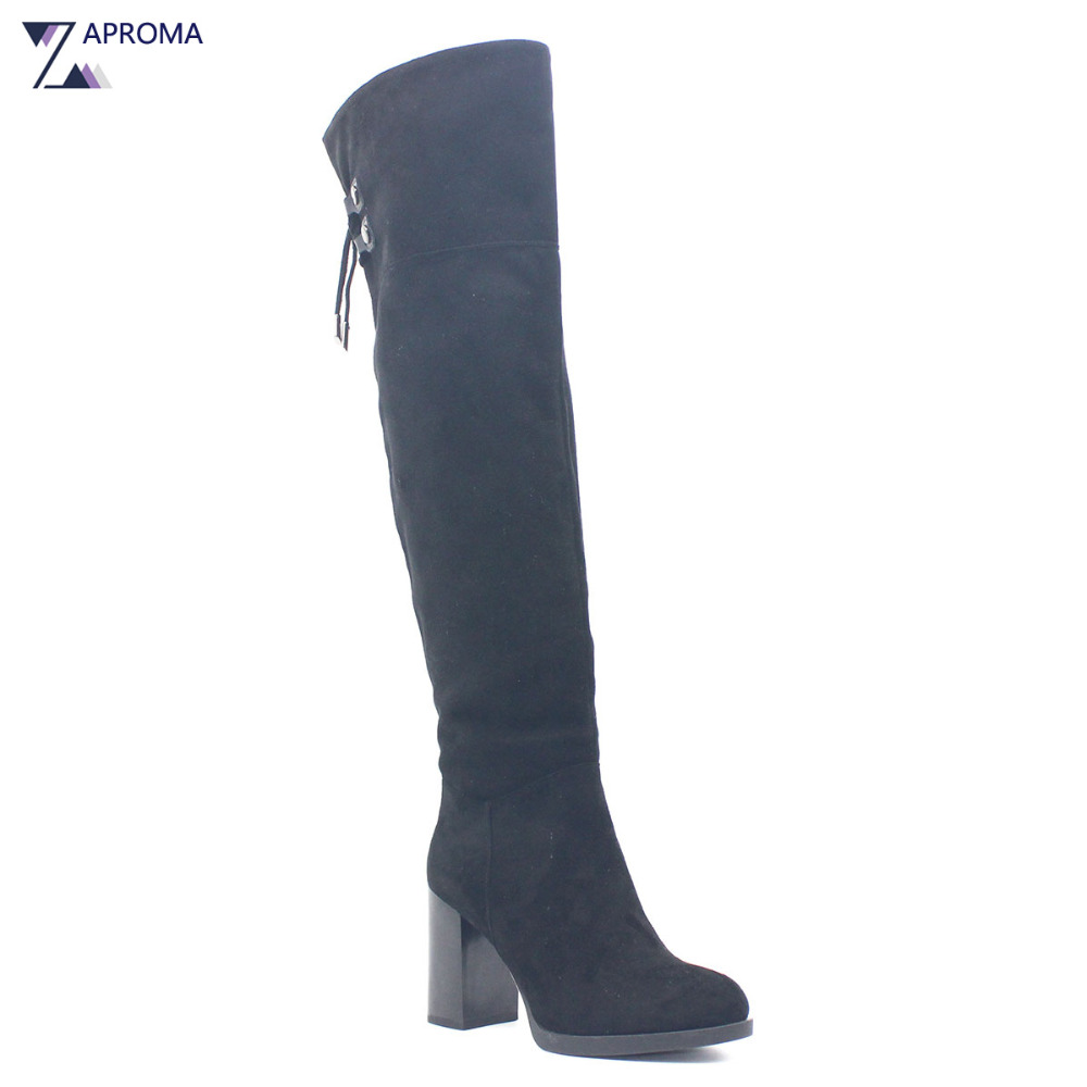 2017 Cross Tied Women Winter Shoes Over the Knee Lace Up Boots Black Thigh High Platform Super High Heel Suede US Size Shoe Zip jk back lace up over the knee boots sexy super high heel women shoes on the platform winter boots 2018 new rubber female shoes