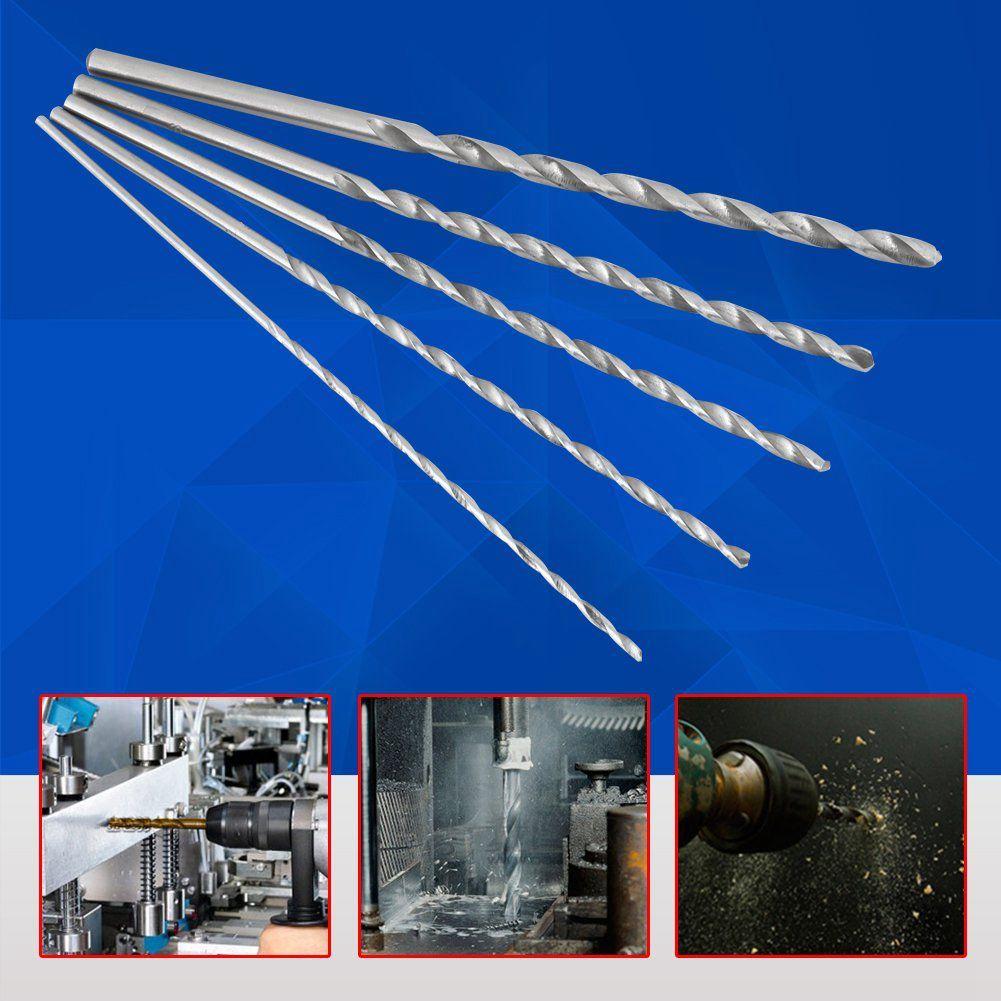 5PCS Extra Long High-speed Steel Drill Bit Sets Straight Shank Twist Drill Bit Tool 2-5mm For Wood Tool High Quality Power Tools