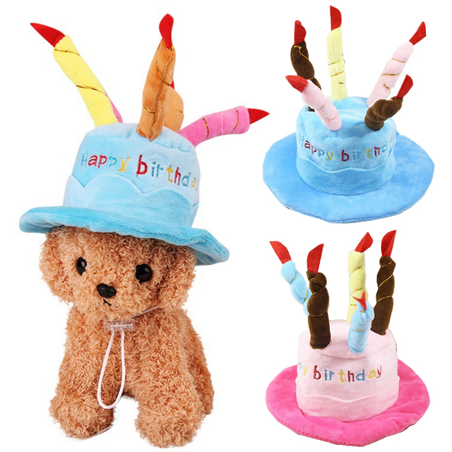 New Pet Birthday Party Costume Dog Caps Cute For Dogs Cat Hat With Cake Candles Design Head Wear
