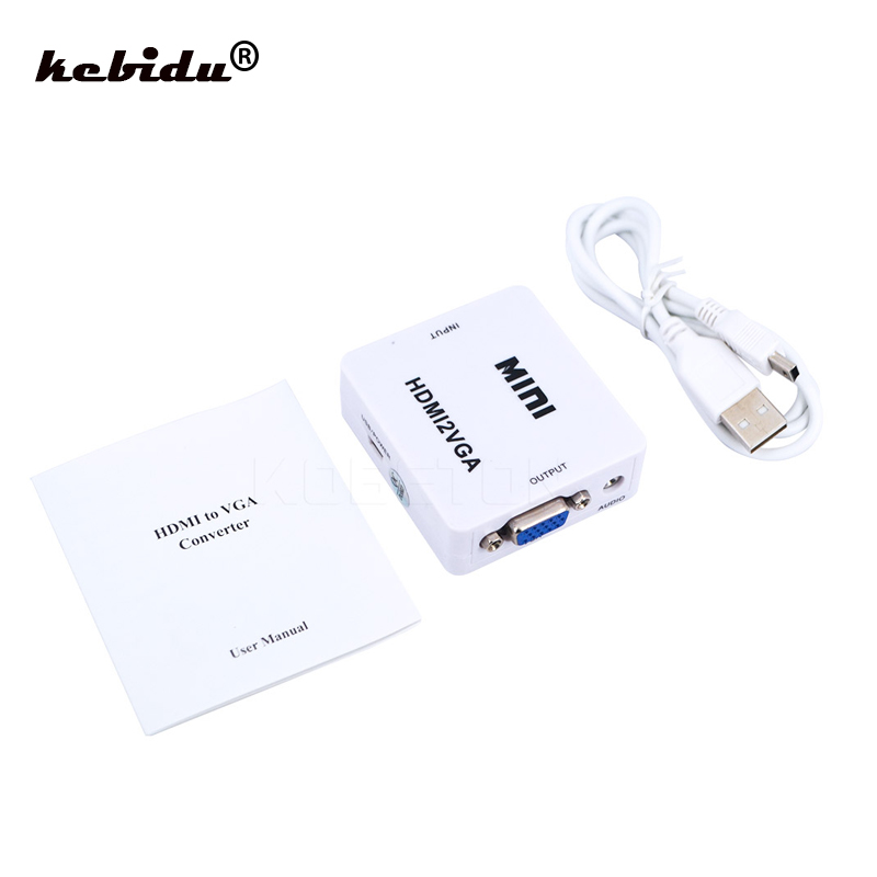 kebidu mini hdmi to vga converter with audio converter for hdmi device to vga monitor adapter