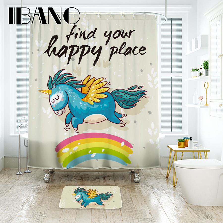 IBANO Find Your Happy Place Unicorn Shower Curtain Waterproof Polyester Fabric Bath Curtain For The Bathroom With 12 pcs Hooks zwbra shower curtain