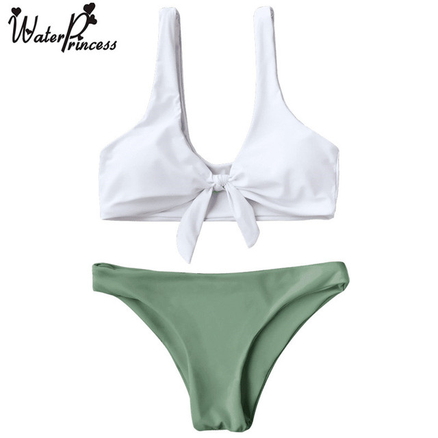 3924cfd408 Water Princess Padded Knotted Bralette Bikini Set New Top Push Up green  Brazilian thong Biquini Beachwear Bathing suit Swimwear