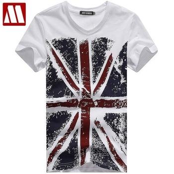 British flag Printed t-shirt Men's V neck t shirts