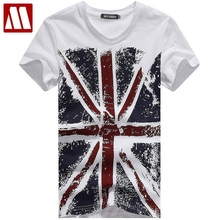 2017 New Summer Fashion British flag Printed t shirt Men s V neck t shirts Union