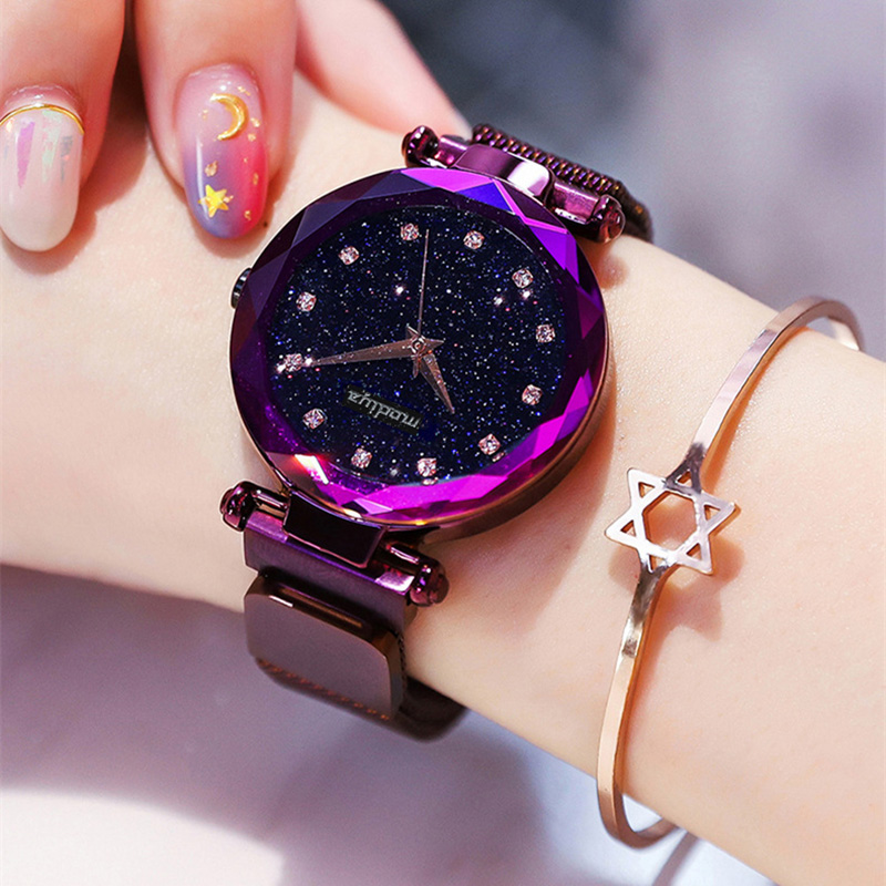 Luxury Diamond Rose Gold Women Watches Fashion Ladies Starry Sky Magnetic Watch Casual Mesh Steel Rhinestone Female Wristwatch  (China)