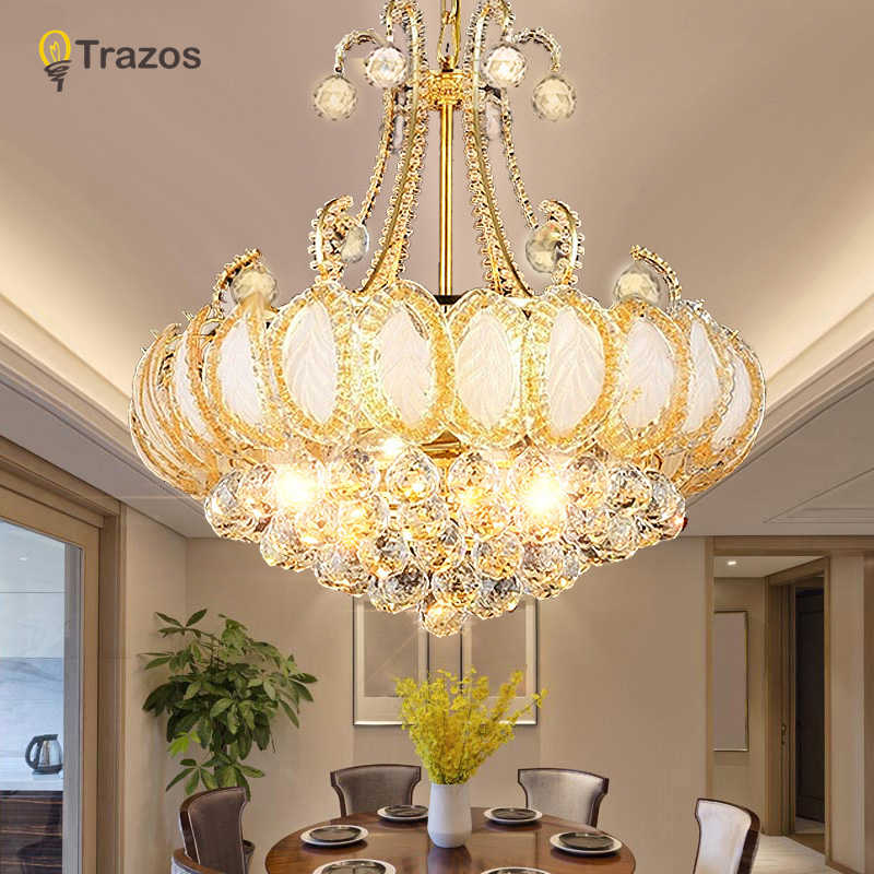 2019 Gold Round Crystal Chandeliers For Living Room Bedroom Kitchen Indoor Lamp luminaria home decoration Free Shipping