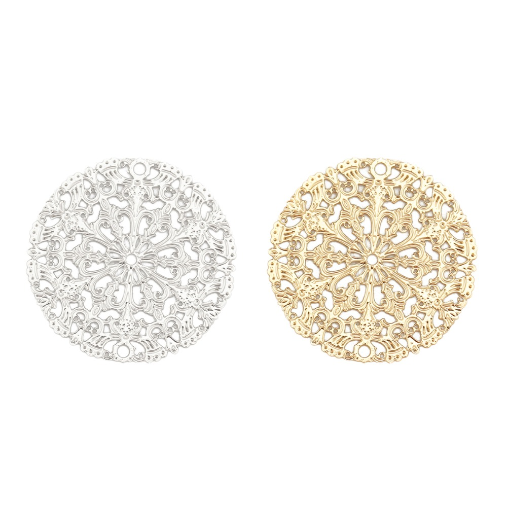 DoreenBeads Fashion Iron Based Alloy Filigree Stamping Connectors Round Silver Tone Gold Color DIY Charms 25mm(1) Dia, 10 PCsDoreenBeads Fashion Iron Based Alloy Filigree Stamping Connectors Round Silver Tone Gold Color DIY Charms 25mm(1) Dia, 10 PCs
