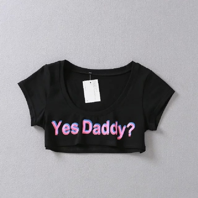 f59b82f225f0 Yes Daddy Mini T-Shirt Japanese Style Fashion Summer Sexy Funny Tee Women t  Shirts Female Short Tops Letters Print
