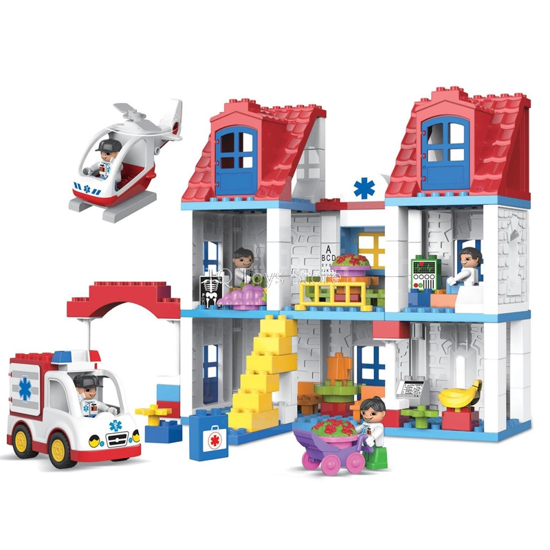 120 pièces ville hôpital secours bloc de construction médecin infirmière fille brique ensemble enfants jouets compatibles avec Duplo cadeau de noël